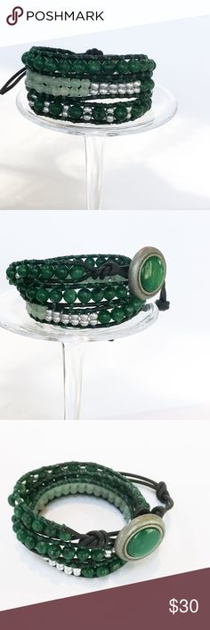 """BUY2⃣GET1️⃣SALE  Handmade 3 Wrap Bracelet A beautiful 3X wrap bracelet made in Chan Luu style with a mix of green lapis beads lighter green beads and metallic seed beads. Each bead is hand stitched to 2mm natural black leather cord .  A Button is used for closure and adds a beautiful accent. two loops offer adjustable closure. Finished length to first loop is 21"""" and 22 3/8"""" to second loop Extra loop can be snipped off if not needed. Handmade Jewelry Bracelets"""