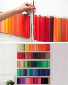 Coloured pencils organized in rainbow order. Each coloured pencil is in a certain place to give it a rainbow affect. This is framing because all the pencils is being framed in the shelve. It's also balance as the pencils are in rows and the same size.