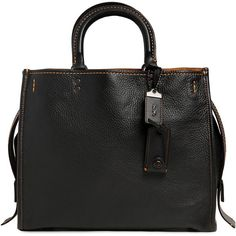Coach 1941 Women Rogue Pebbled Leather Top Handle Bag ($1,255) ❤ liked on Polyvore featuring bags, handbags, black, pebbled-leather bags, coach 1941, studded bag, shoulder strap bags and leather top handle bag