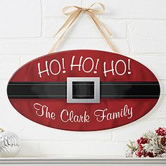 Santa Belt Personalized Christmas Oval Wood Sign you can customize with your family name. Christmas Wood, Christmas Signs, Christmas Projects, Winter Christmas, Family Christmas, Christmas Ideas, Christmas Blocks, Christmas Gifts To Make, Handmade Christmas