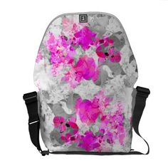 Abstract floral design - pink on white and gray courier bags.