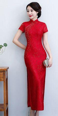 040cb77965 Beaded burgundy red lace short sleeve Chinese wedding dress