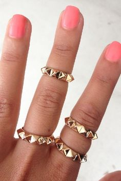 Knuckle rings. Kinda like these studs! Maybe not in gold color but silver