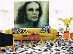 Love Diane Von Furstenburgs NYC living room. Her entire NYC home is an artistic fantasyland. Love it!