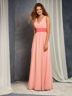 Alfred Angelo Style 7375L: color mix long floor length bridesmaid dress with low V-Neckline