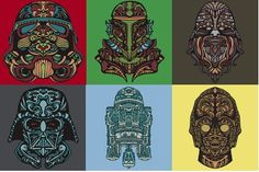 Check out these Star Wars tribal Mexican sugar skull t-shirts.  Designs are available based on your favorite characters including, Darth Vader, R2-D2, C3PO, Boba Fett, Chewbacca, Stormtrooper and more!