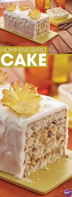 Hummingbird Cake Recipe - You don't have to be from the south to make this simply delicious Hummingbird Cake with chopped pecans, crushed pineapple, mashed bananas and cream cheese icing!