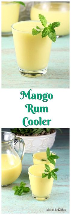 Mango #rum Cooler Cocktail Recipe from MissintheKitchen.com Perfect summer party drink! #cocktailrecipes