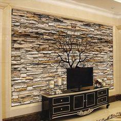 Modern 3D Stone Wall Black Tree Wallpaper Custom Mural