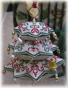 Christmas tree - cross stitch embroidery, 3 stacks, like pin cushions Biscornu Cross Stitch, Xmas Cross Stitch, Cross Stitching, Cross Stitch Embroidery, Cross Stitch Christmas Ornaments, Christmas Embroidery, Christmas Cross, Christmas Tree, Cross Stitch Designs