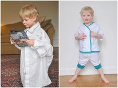 Great idea. I bet you could make a pajama set for a little person pretty easily with a large dress shirt. The sleeves could probably become the pants.