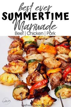 An amazingly simple but delicious marinade for beef, pork or chicken, even fish and veggies! Skewer it up with your favorite veggies and you've got dinner with these summertime shish kebabs. Recipe via @thefreshcooky | #kababs #kabobs #meal #recipe #dinner #easydinner #beef #chicken #pork #Spring #Summer #grilling #grilled #healthy