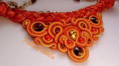 Bright Orange and Yellow soutache statement necklace soutache