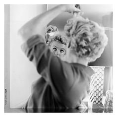 Getty Image Gallery Marilyn Monroe Makes Up Print on Canvas, 40 x 40cm Online at johnlewis.com #Marilyn #Monochrome #Fashion #JohnLewis