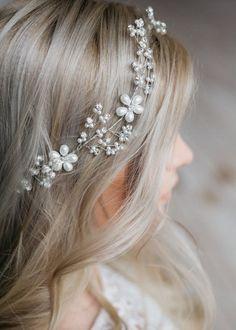00ce722275 LILOU - Bridal hair vine headpiece Coronas De Novia