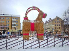 Julbock, a giant Christmas goat at the Gävle town market, Sweden. The Yule Goat is one of the oldest Scandinavian and Northern European Yule and Christmas symbols and traditions.