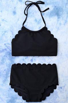 $15.40 High Rise Scalloped Halter Bikini - Black