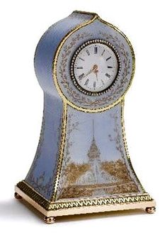 Fabergé Gold and Sepia Enamel Admiralty Clock