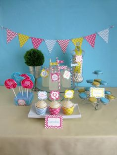 Pink Blue and Yellow Chevron Party
