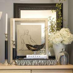 Dresser Vignette by Maria Killam Color & Design Interior Styling, Interior Decorating, Interior Design, Design Design, Store Design, Decorative Accessories, Home Accessories, Dresser Styling, Console Styling