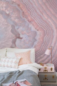 Crystal Wall Murals: Escape the hectic nature of daily life by immersing yourself in the tranquil auræ and hushed ambience of a serene, personal sanctuary built to soothe the mind. Inspired by the balance and healing that Crystal Decor, Crystal Wall, Crystal Bedroom Decor, Bedroom Decor Glam, Bedroom Ideas, Crystal Room, Glam Room, Design Bedroom, My New Room