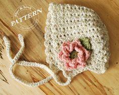 CROCHET PATTERN - Petite Shells Baby Bonnet, Baby Crochet Bonnet Pattern, Flower Bonnet, Baby Crochet Hat (0-24 months sizes) pdf #039H by FiberAndHook on Etsy https://www.etsy.com/listing/222796610/crochet-pattern-petite-shells-baby