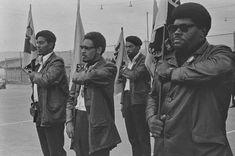 Black Panthers during drill, (far right, Elbert 'Big Man' Howard) De Fremery Park, July 28, 1968 — in Oakland, California.  Photo credit: Pirkle Jones / University of California, Santa Cruz