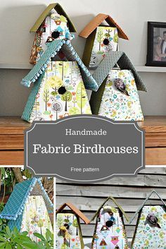 Use up your fabric scraps to make some gorgeous fabric birdhouses. Free pattern and templates included.