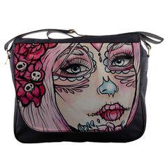 "Womens Day of the Dead  Pink Tattoo  Rockabilly     "" Nissa "" Messenger Bag Purse  Sugar Skulls Dia De Lo Muertos Tattoo Art  Lowbrow Cute"