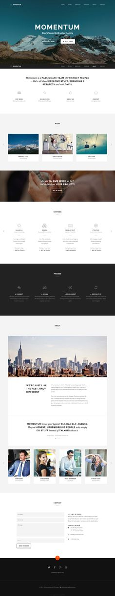 """'Momentum' is a beautiful one page HTML template with great use of whitespace and a lovely blend of typography. The responsive template is perfect for portfolios but also comes with a """"personal"""" version including several header options - man it's crazy what $15 can get you nowadays. One of the better looking one page templates I've seen in a while!"""