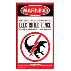 Jurassic World Raptor Fence Medium Metal Sign - Factory Entertainment - Jurassic Park - Signs at Entertainment Earth