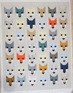 I've been seeing all of these adorable fox head quilts across the internet. It's from a pattern called Fancy Fox by Elizabeth Hartman of Oh! Well imagine my delight when Chelsea had another quilt for me to do. Fox Fabric, Patchwork Fabric, Elizabeth Hartman Quilts, Fox Quilt, Fox Boy, Animal Quilts, Small Quilts, Japanese Fabric, Quilt Making