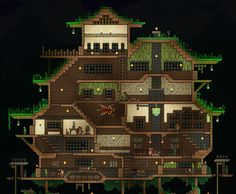 Grass Temple Build *~* Minecraft House Plans, Minecraft Creations, Minecraft Houses, Terraria House Design, Terraria House Ideas, Skullgirls, Places Around The World, Empire State Building, Pixel Art