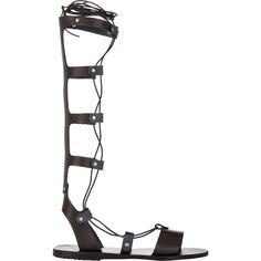 Ancient Greek Sandals Women's Thebes Knee-High Gladiator Sandals (3 485 SEK) ❤ liked on Polyvore featuring shoes, sandals, black, leather gladiator sandals, roman sandals, leather lace up sandals, lace up sandals and black gladiator sandals