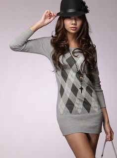 Women's Argyle Pattern Boat-Neck Slim Pull-Over Long Sweaters Grey - BuyTrends.com