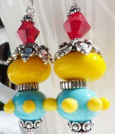 Lampwork  Earrings FUNKY CHICKENS by adamarisdesigns on Etsy, $19.00