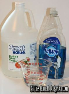 SUPER Scum Removing Cleaner Recipe for the shower glass doors Dishsoap (Original only, others don't work) 1/2 c. HOT White Vinegar 1 spray bottle Heat vinegar mix in soap pour in bottle use immediately.