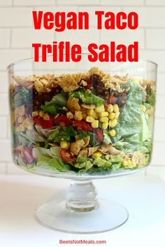 Vegan + Gluten-Free Taco Trifle Salad - the perfect summer recipe that is too good not to eat! Get this quick and easy recipe before summer is over! Vegan Foods, Vegan Vegetarian, Vegetarian Recipes, Healthy Recipes, Vegan Meals, Salad Recipes, Paleo, Whole Food Recipes, Cooking Recipes