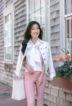 white denim jacket + bow tie blouse + scallop tote; casual style summer outfit