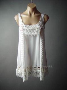 Victorian-Peasant-Crochet-Doily-Scalloped-Hem-Chemise-Top-105-mv-Tunic-S-M-L-XL