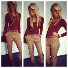 How to style belted chinos, long sleeve, and booties..  Clothes Casual Outift…