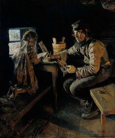 Akseli Gallen-Kallela Ensi opetus / First lesson - Finland Nostalgic Art, Gustave Courbet, Merian, Academic Art, Russian Painting, Scandinavian Art, Chiaroscuro, Illustrations, Art For Kids