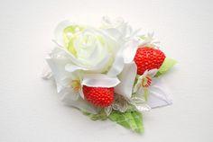 White Rose Red Strawberry Bridal Hair Comb Bridal Flower