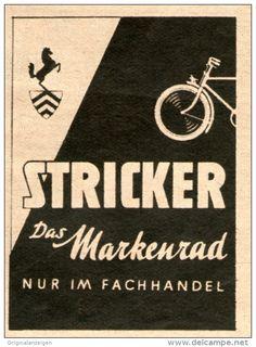 Original-Werbung/Inserat/ Anzeige 1949 - STRICKER FAHRRÄDER - ca. 70 x 50 mm