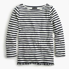 J.Crew Gift Guide: women's striped boatneck T-shirt with fringe.