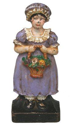 """Antique Cast Iron Doorstop...""""Girl in Purple Dress"""""""