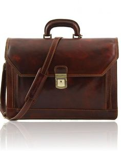Leather briefcase Brown