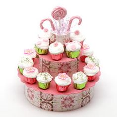 Pink Sucker and Candy Cupcake Display | Stewart Dollhouse Creations
