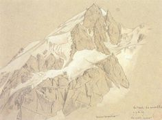 Sketch of Mont Blanc by Eugène Viollet-le-Duc; for more on Viollet-le-Duc's mountain-building analyses, from the perspective of a geologist,...