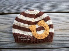 Knit HORSESHOE Hat- Beanie- Cowboy Hat- Texas style hat- baby hat- Brown and Taupe Hat- Country style hat, Cowboys, Wild West. $22.00, via Etsy.